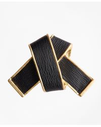 Brooks Brothers | Metallic Leather Knot Brooch | Lyst