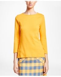 Brooks Brothers - Yellow Interlocked Cotton Boatneck Top - Lyst
