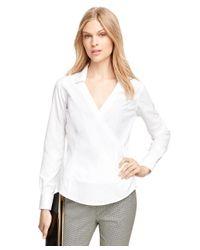 Brooks Brothers | White Non-iron Cotton Faux Wrap Dress Shirt | Lyst