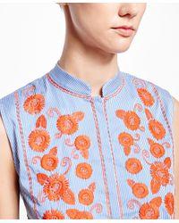 Brooks Brothers - Orange Sleeveless Striped Top - Lyst