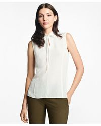 Brooks Brothers | White Silk-blend Tie-neck Blouse | Lyst