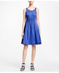 Brooks Brothers - Blue Sleeveless Cotton Sateen Dress - Lyst