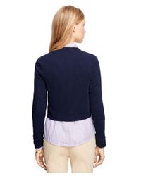 Brooks Brothers - Blue Merino Wool Cropped Cardigan - Lyst