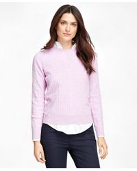 Brooks Brothers | Purple Cashmere Cable Crewneck Sweater | Lyst