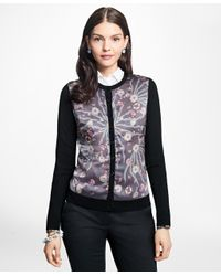 Brooks Brothers - Black Mixed-media Silk-front Cardigan - Lyst