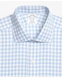 Brooks Brothers - Blue Regent Fitted Dress Shirt, Non-iron Hairline Framed Check for Men - Lyst