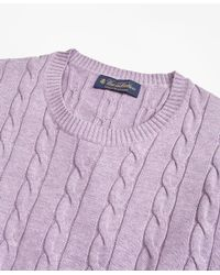 Brooks Brothers - Purple Supima® Cotton Cable Crewneck Sweater for Men - Lyst