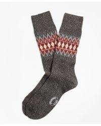 Brooks Brothers - Gray Fair Isle Wool-silk-blend Socks for Men - Lyst