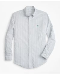 Brooks Brothers - Green Non-iron Regent Fit Oxford Stripe Sport Shirt for Men - Lyst