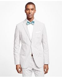 Brooks Brothers White Fitzgerald Fit Seersucker Suit for men