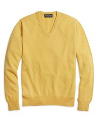 Brooks Brothers - Yellow Cashmere V-neck Sweater for Men - Lyst