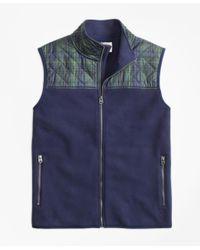 Brooks Brothers   Blue Plaid Quilted-yoke Polar Fleece Vest for Men   Lyst