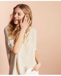 Brooks Brothers White Shimmer Boucle-knit Sweater