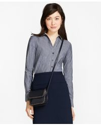 Brooks Brothers | Blue Fitted Non-iron Striped Cotton Poplin Shirt | Lyst