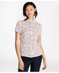 Brooks Brothers - White Floral-print Crepe Blouse - Lyst