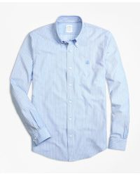 Brooks Brothers - Blue Supima® Cotton Ground Stripe Button-down Knit Shirt for Men - Lyst