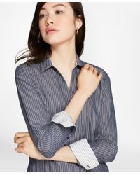 Brooks Brothers - Blue Fitted Non-iron Striped Cotton Poplin Shirt - Lyst
