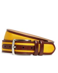 Brooks Brothers Brown Grosgrain And Leather Belt for men
