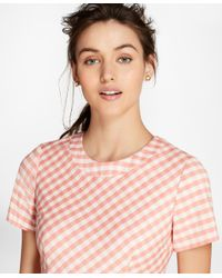 Brooks Brothers - Pink Petite Gingham Double-weave Sheath Dress - Lyst