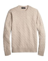 Brooks Brothers | Natural Cashmere Cable Crewneck Sweater for Men | Lyst