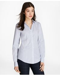 Brooks Brothers - Blue Non-iron Striped Cotton Poplin Fitted Shirt - Lyst
