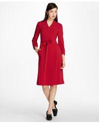 Brooks Brothers - Red Matte Satin Wrap Dress - Lyst