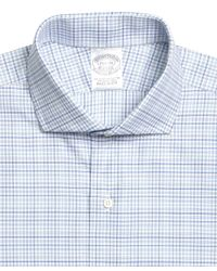 Brooks Brothers Blue Regent Fit Triple Check Dress Shirt for men