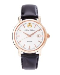 Brooks Brothers - Black Round Watch With Calfskin Band for Men - Lyst
