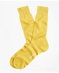 Brooks Brothers - Yellow Ribbed Crew Socks for Men - Lyst