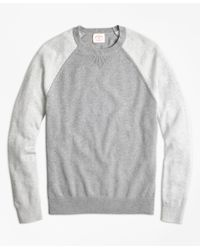 Brooks Brothers Gray Color-block Cotton-cashmere Sweater for men