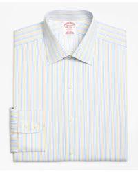 Brooks Brothers Yellow Madison Classic-fit Dress Shirt, Non-iron Sidewheeler Stripe for men