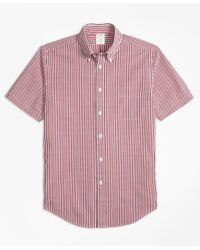 Brooks Brothers Red Milano Fit Check Seersucker Short-sleeve Sport Shirt for men