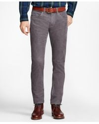 Brooks Brothers - Gray Garment-dyed 15-wale Corduroy Pants for Men - Lyst