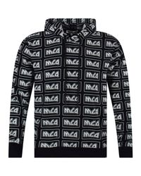 McQ Alexander McQueen Black All Over Print Pullover Hoodie for men
