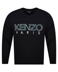 e9ef4e708 KENZO Black Crew Neck Written Logo Sweatshirt in Black for Men - Lyst