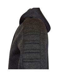 Helmut Lang - Gray Charcoal Neoprene Longline Zip Up Hoodie for Men - Lyst