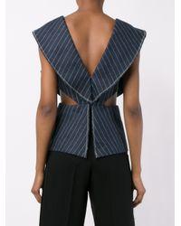 3.1 Phillip Lim - Blue Pinstripe Cascading Sleeve Top - Lyst