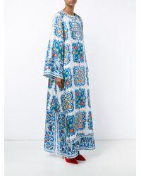Dolce & Gabbana - Multicolor Maiolica Print Silk-twill Kaftan Dress - Lyst