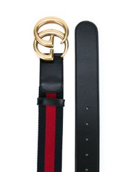 Gucci - Red Striped Logo Belt - Lyst