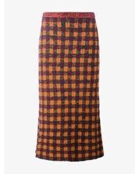 Miu Miu | Multicolor - Checked Knitted Skirt - Women - Polyamide/mohair/wool/virgin Wool - 42 | Lyst