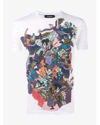 DSquared² White Samurai Print Cotton T-shirt for men