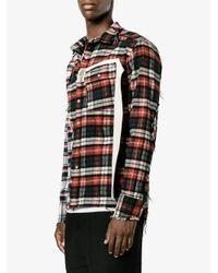 Miharayasuhiro - Red Distressed Cotton Flannel Shirt for Men - Lyst