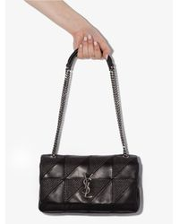 Saint Laurent Womens Black Jamie Studded Baguette Leather Shoulder Bag