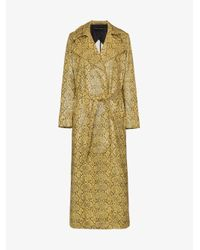 Michael Lo Sordo Multicolor Snake Print Belted Trench Coat