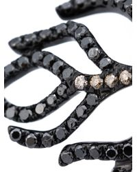 Rosa De La Cruz | Black 18k Gold and Diamond Feather Ring | Lyst