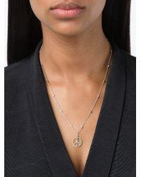 Rosa De La Cruz - Metallic White Gold & Diamond Dot Peace Necklace - Lyst