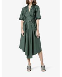 Adam Lippes - Green Asymmetric Cotton Midi Dress - Lyst