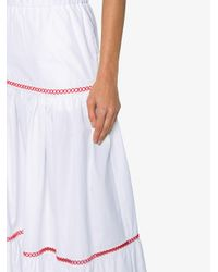 Jour/né White Maxi Tiered Skirt With Embroidery