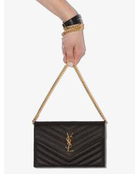 Saint Laurent Black Monogram Quilted Leather Shoulder Bag
