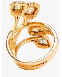 Saqqara - Multicolor 18k Yellow Gold Diamond Quatrain Ring - Lyst